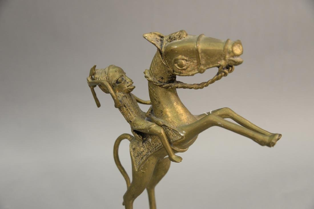 African brass horse and rider sculpture. height 12 - 2