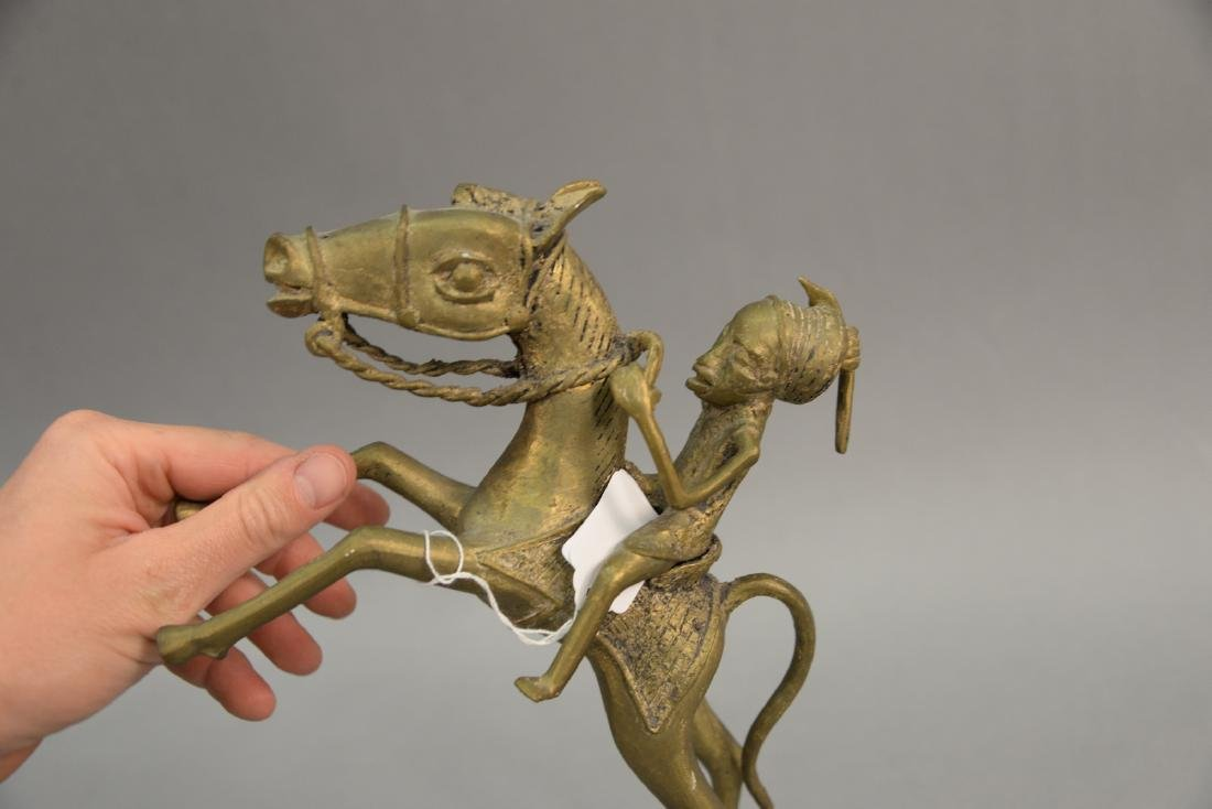 African brass horse and rider sculpture. height 12 - 3
