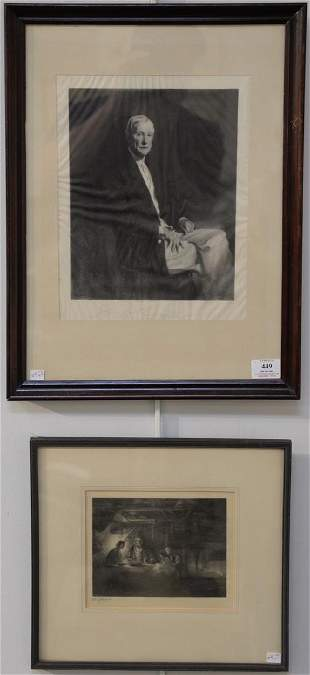 Two Timothy Cole engravings on tissue paper including