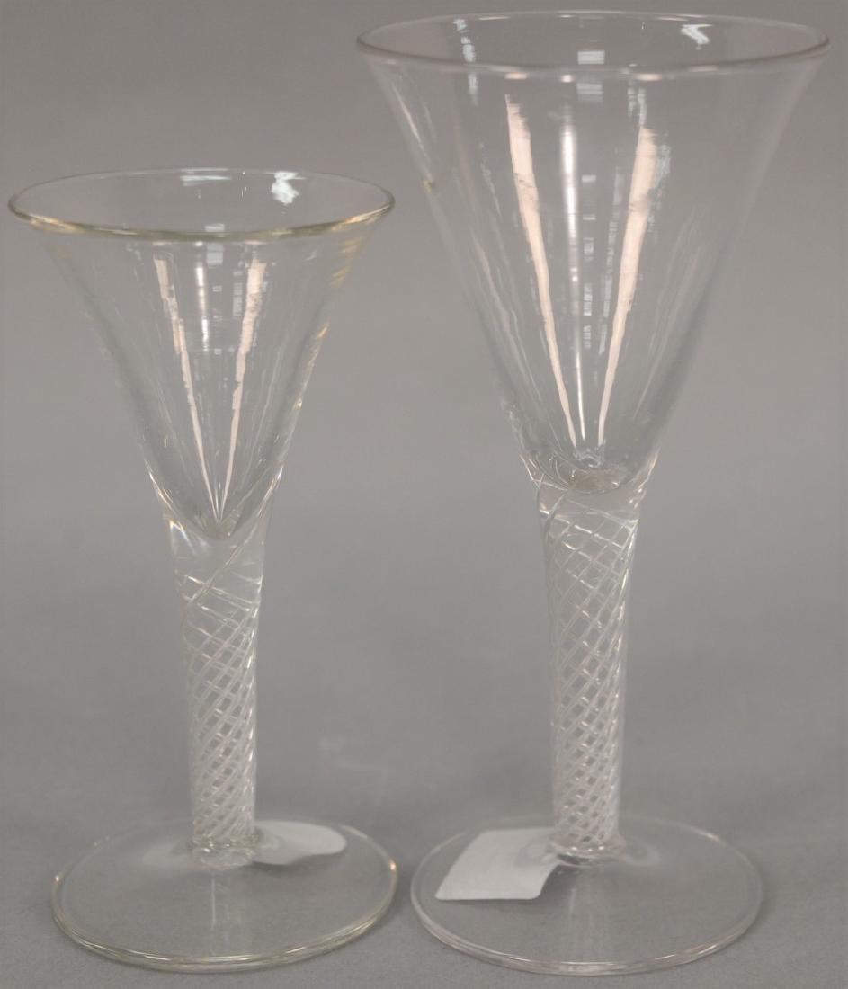 Group of twelve blown crystal flutes with air twist