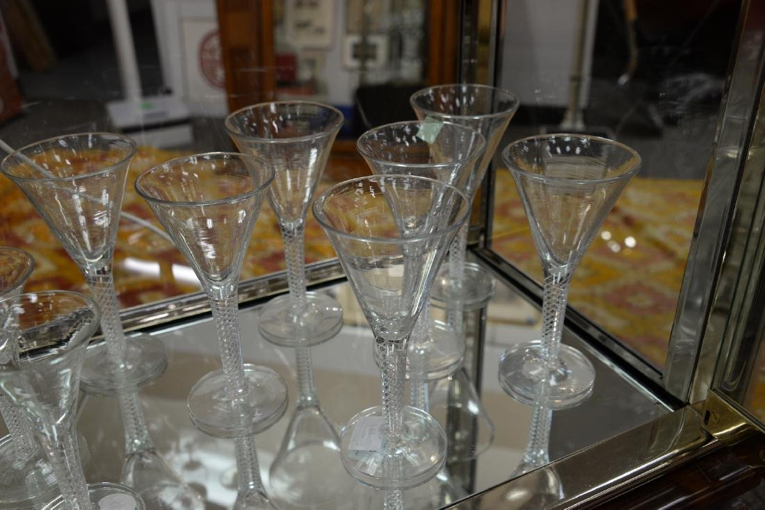 Group of twelve blown crystal flutes with air twist - 3
