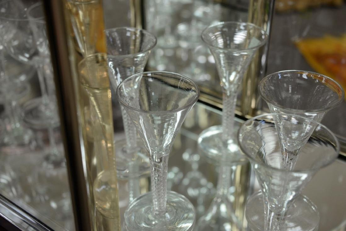 Group of twelve blown crystal flutes with air twist - 5