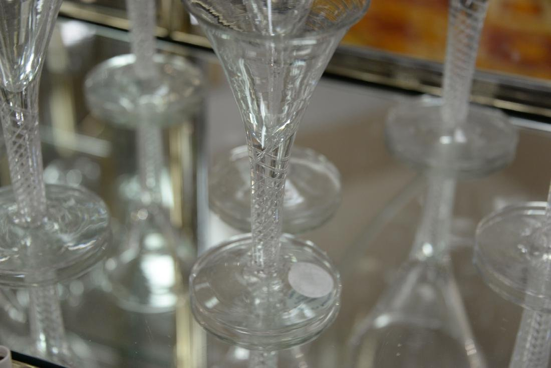 Group of twelve blown crystal flutes with air twist - 6