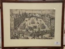 Two engravings including (1) Giardino Pontificio sul