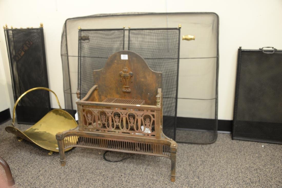 Assorted lot of fireplace items to include an iron fire - 2