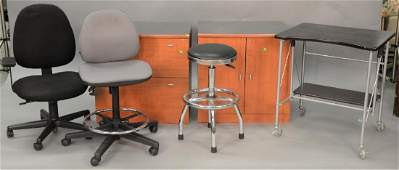 Six piece office furniture lot to include two file