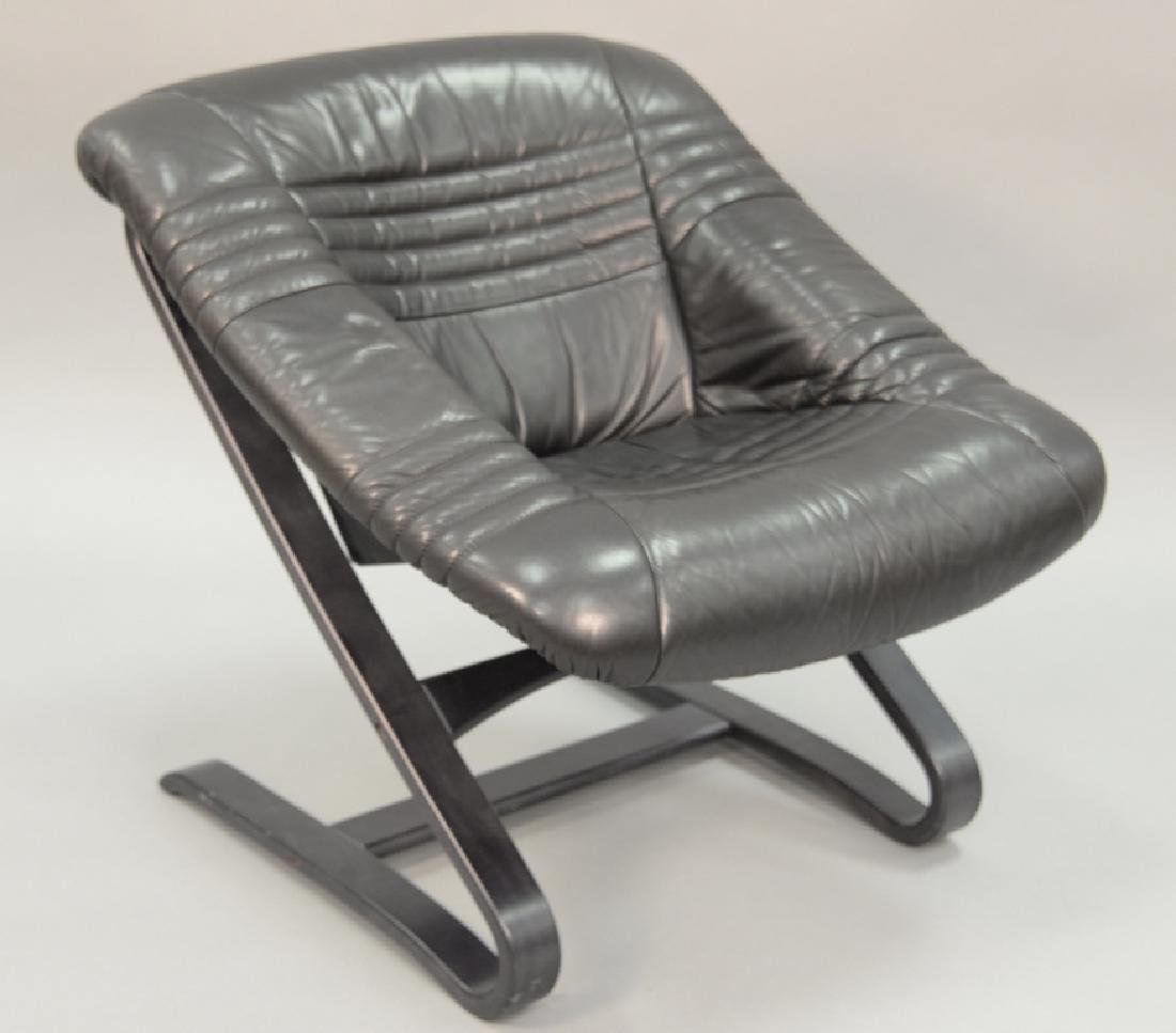 Post Modern leather lounge chair, Ingmar Relling