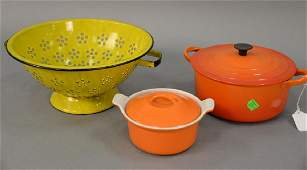 Large group of cast iron enameled cookware to include
