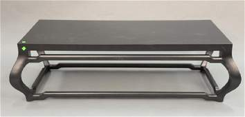 """Contemporary coffee table. ht. 17in., top: 25 1/2"""" x 55"""