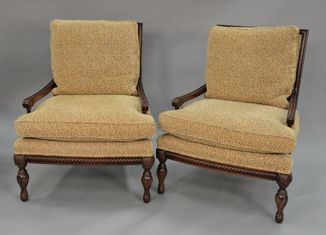 Pair of custom upholstered armchairs (excellent