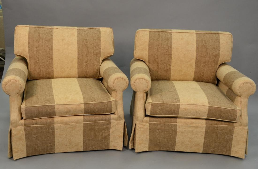 Pair of contemporary plantation style upholstered