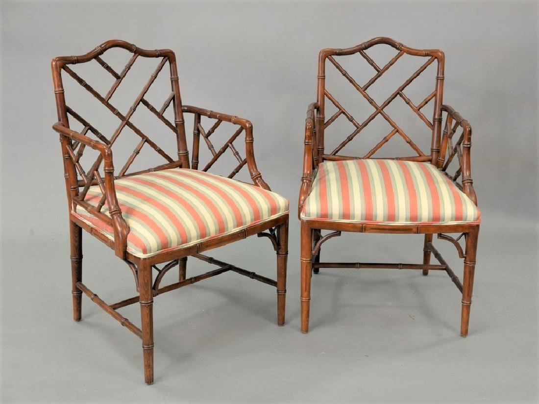Pair of faux bamboo Chinese chippendale style arm