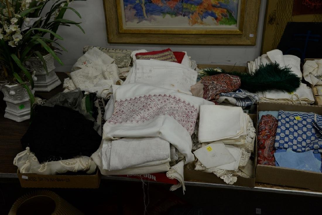 Table lot of linens, fourteen boxes total. - 2