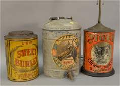 Three piece lot to include three large advertising tin