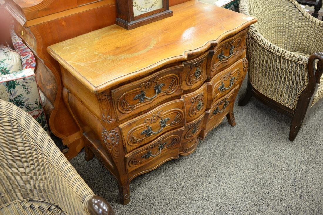 French style three drawer chest with carved front, with - 2