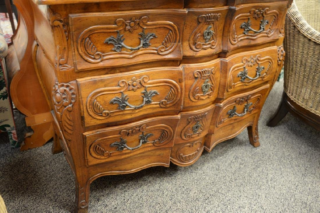 French style three drawer chest with carved front, with - 4