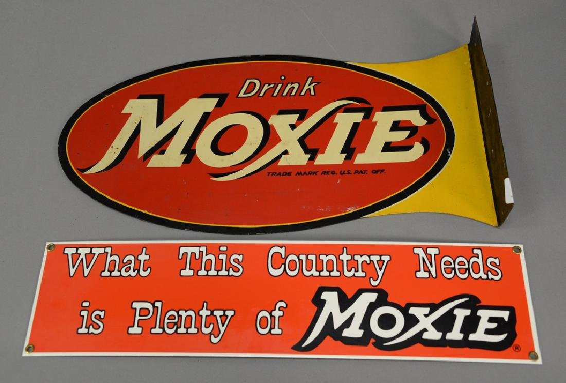 """Two Moxie advertising signs, double sided """"Drink Moxie"""""""