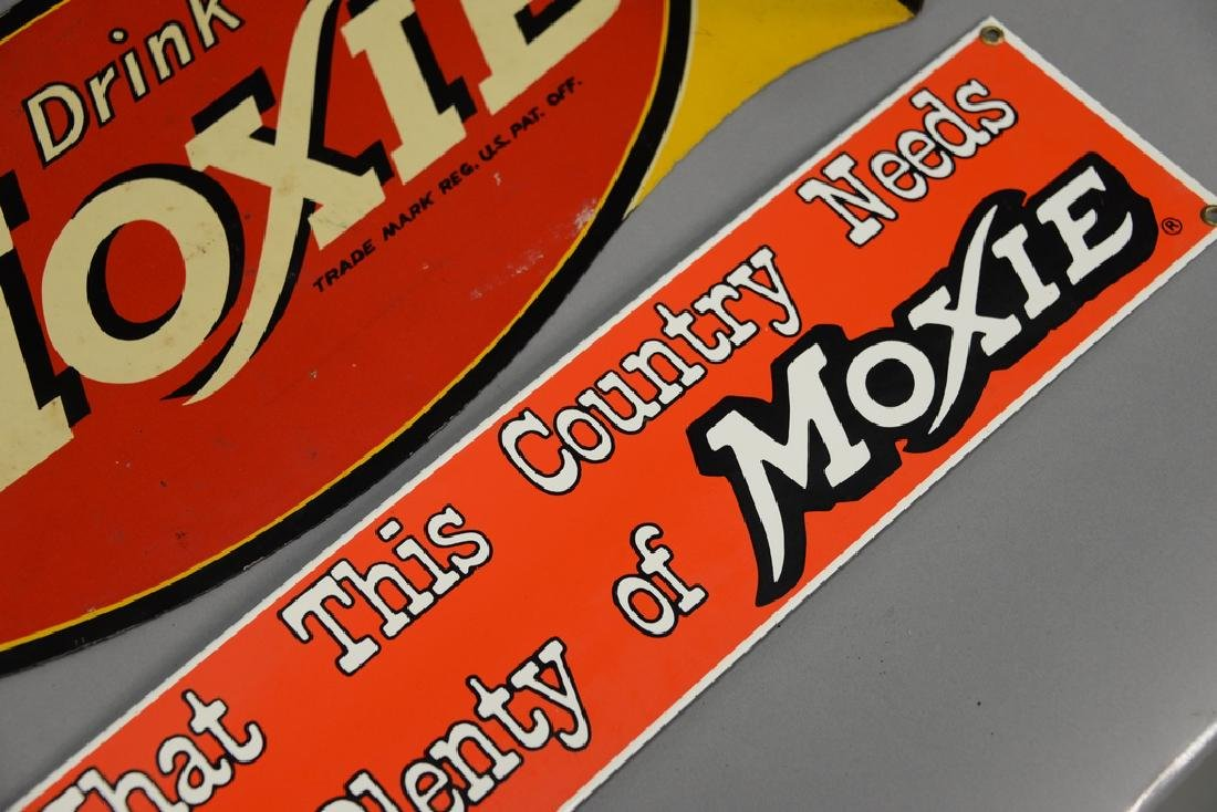 """Two Moxie advertising signs, double sided """"Drink Moxie"""" - 2"""