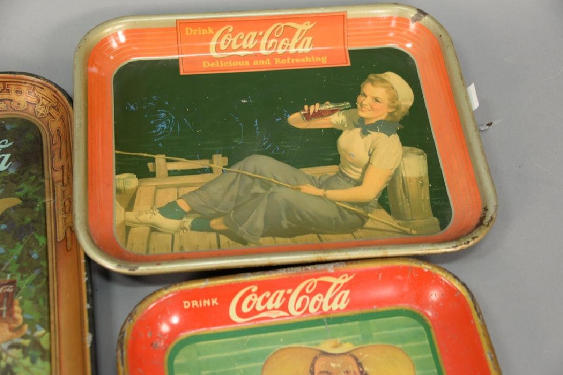 Group of five original Coca-Cola tin advertising trays. - 2
