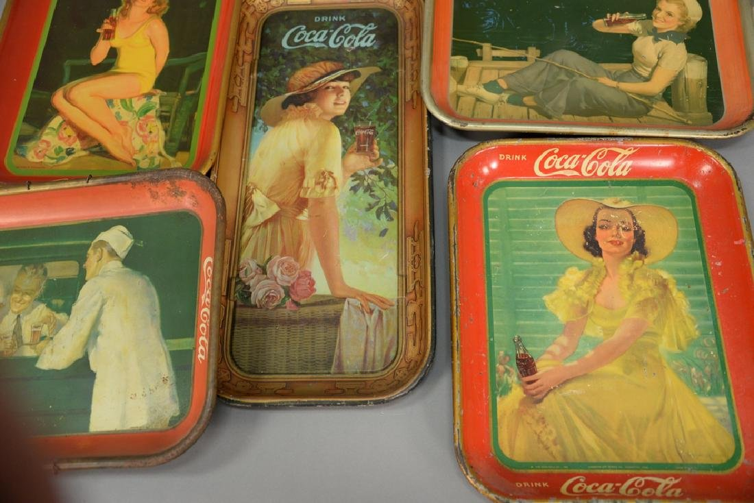 Group of five original Coca-Cola tin advertising trays. - 3