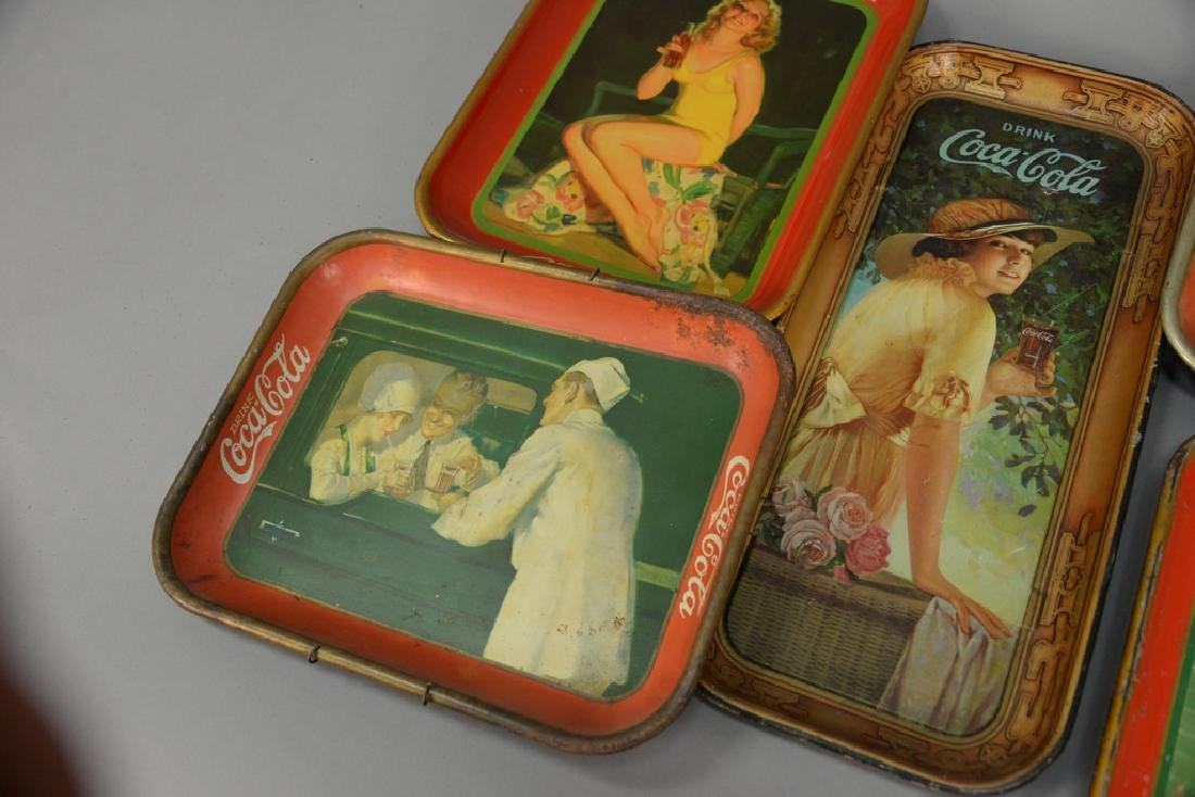 Group of five original Coca-Cola tin advertising trays. - 4