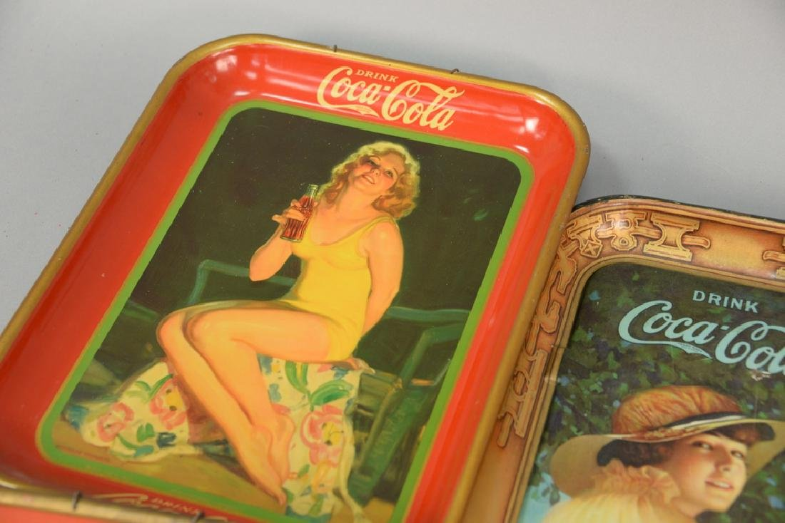 Group of five original Coca-Cola tin advertising trays. - 5