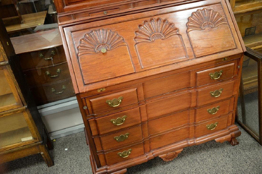 Custom mahogany secretary desk having bonnet two door - 3