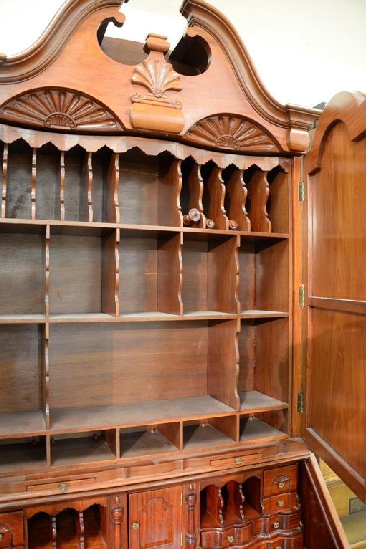 Custom mahogany secretary desk having bonnet two door - 5