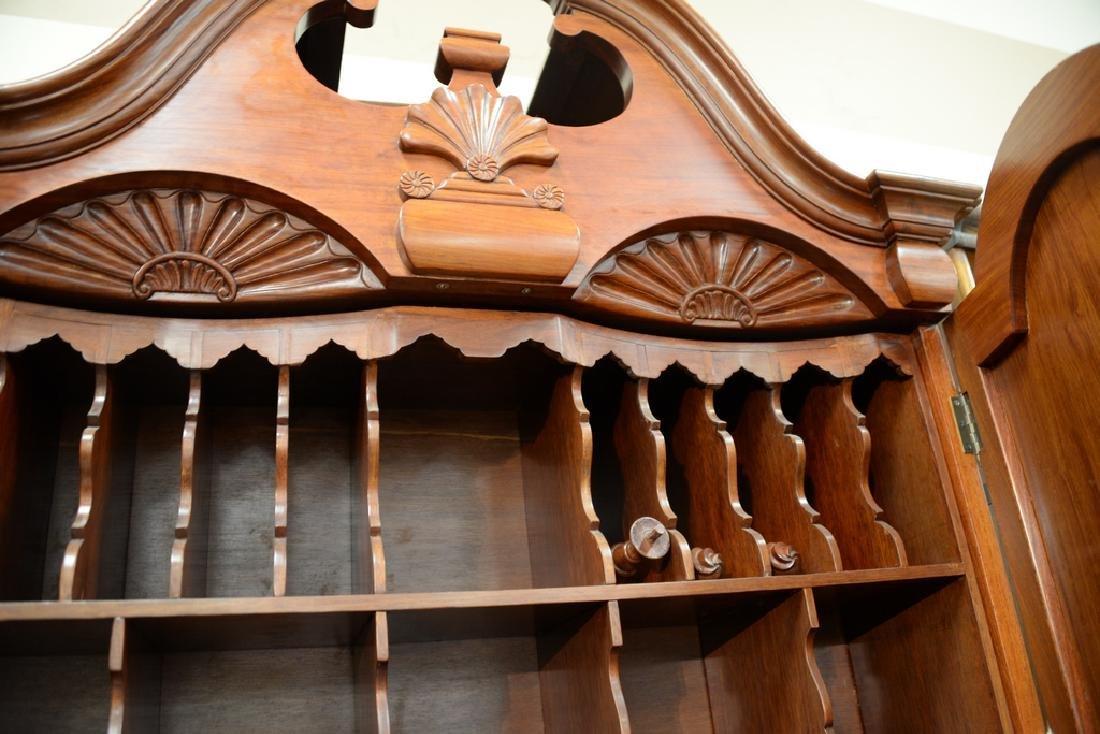 Custom mahogany secretary desk having bonnet two door - 6