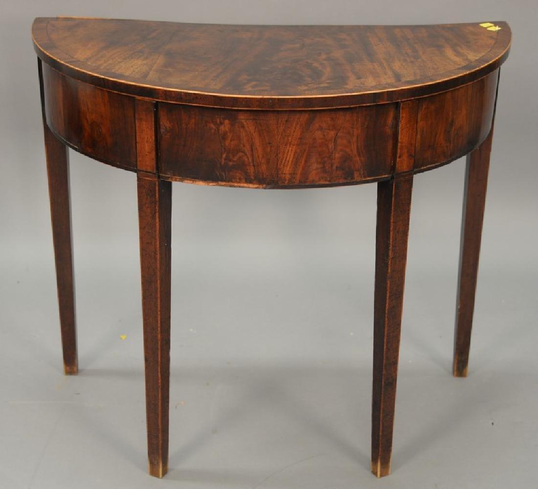 George III mahogany demilune table, circa 1800. ht.