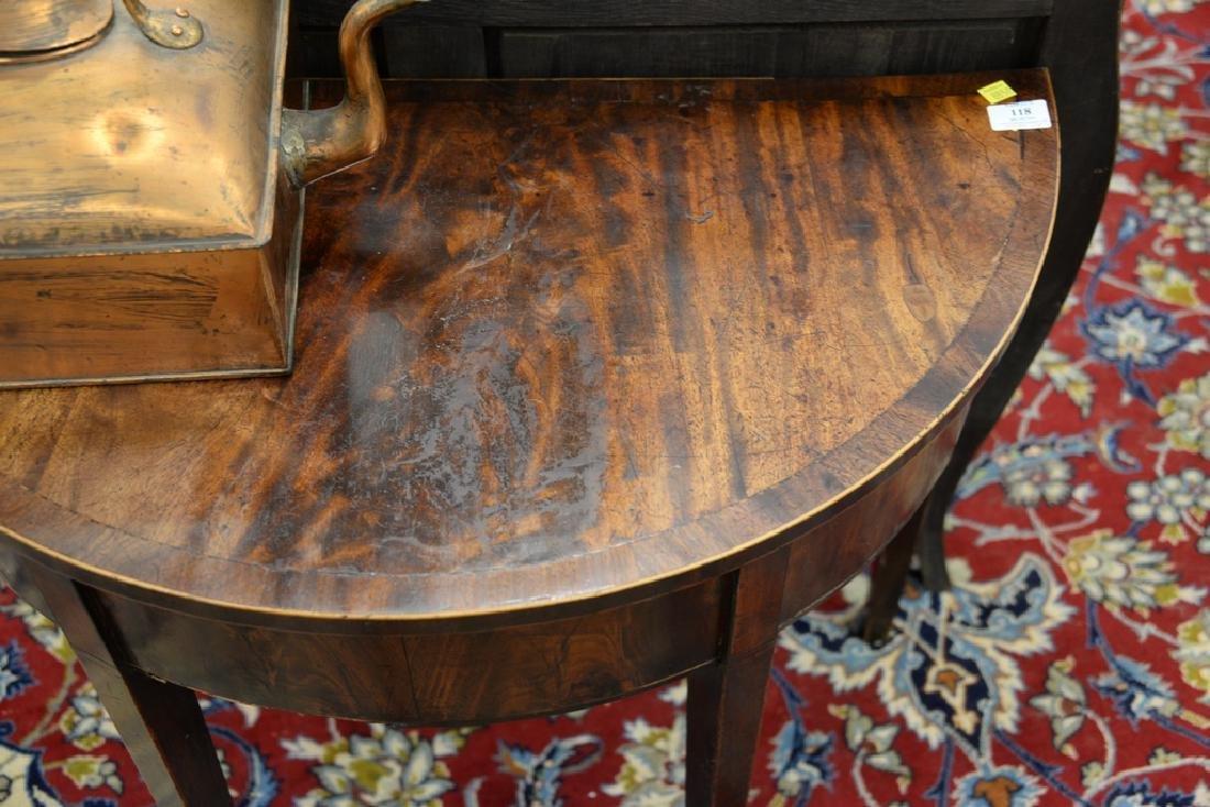 George III mahogany demilune table, circa 1800. ht. - 4