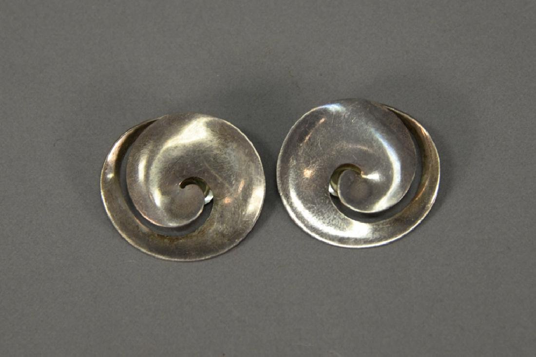 Pair of Georg Jensen sterling silver Torun clip on