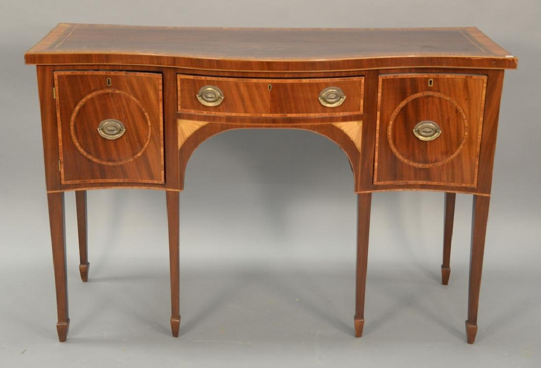 George III style custom mahogany sideboard with banded