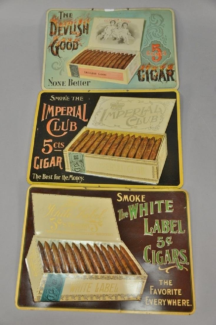 Three cigar tobacco tin advertising signs including The