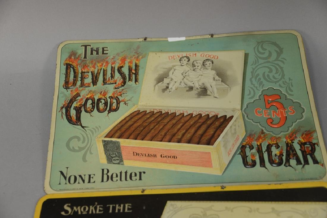 Three cigar tobacco tin advertising signs including The - 2