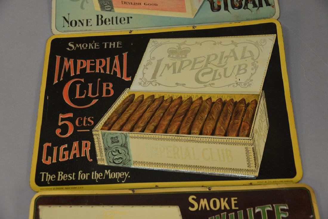 Three cigar tobacco tin advertising signs including The - 3