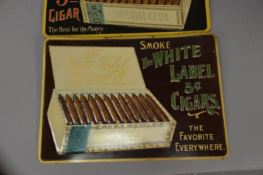 Three cigar tobacco tin advertising signs including The - 4