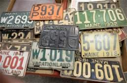 Two box lots of twentyfour vintage Maine license