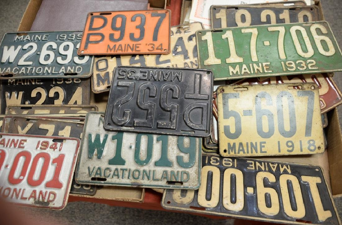 Two box lots of twenty-four vintage Maine license