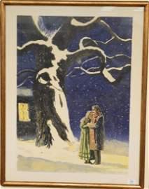 """Jamie Wyeth (b. 1946) lithograph, """"La Boheme"""" man and"""
