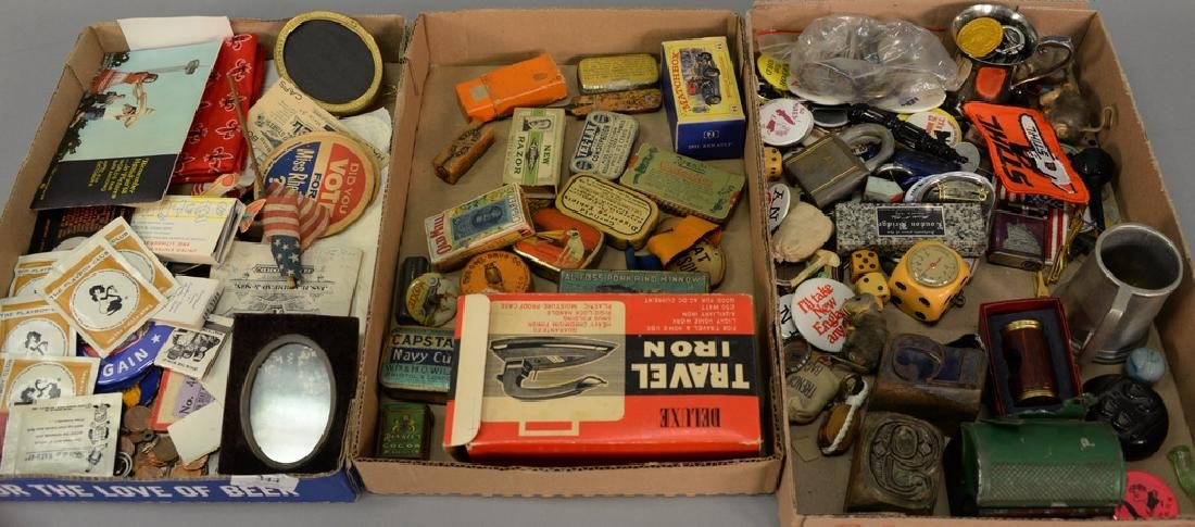 Three tray lots consisting of advertising tins,