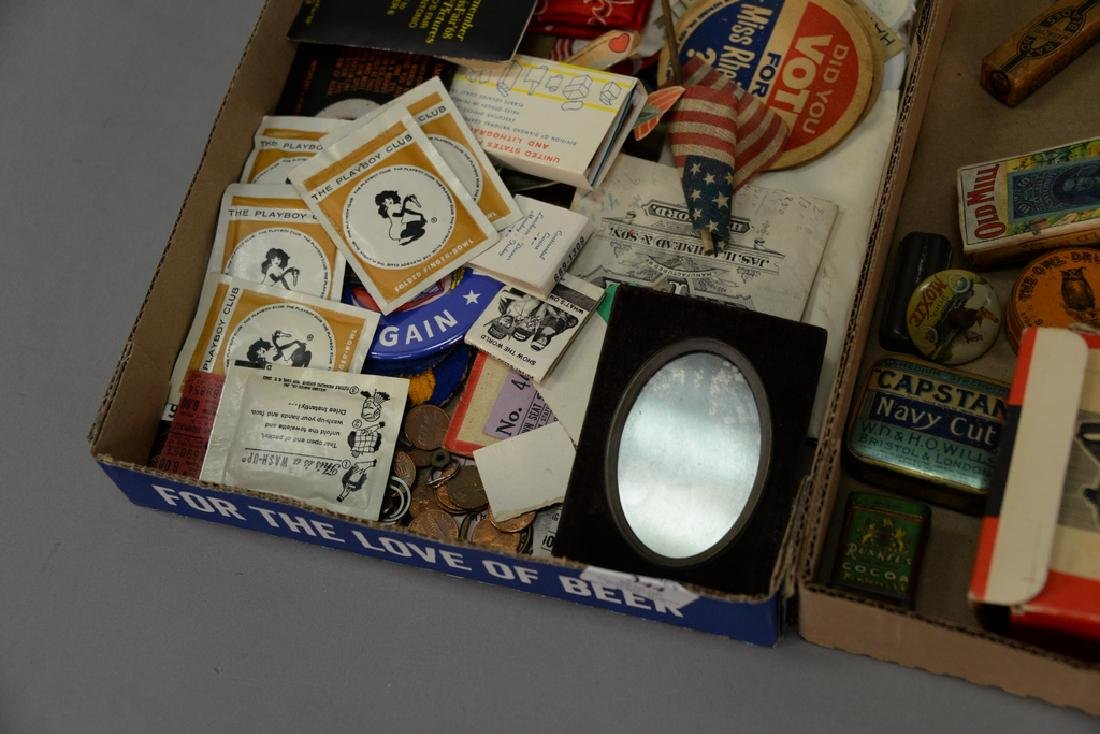 Three tray lots consisting of advertising tins, - 7