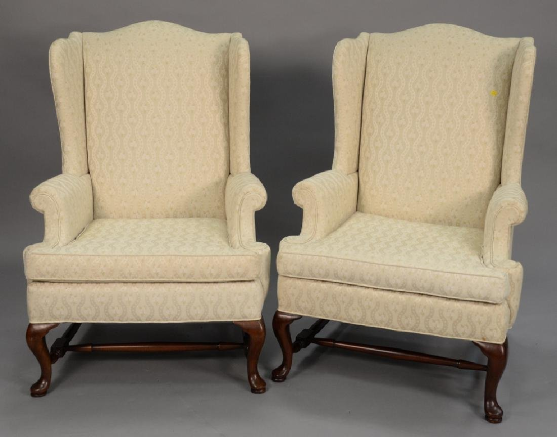 Hickory pair of upholstered Queen Anne style wing