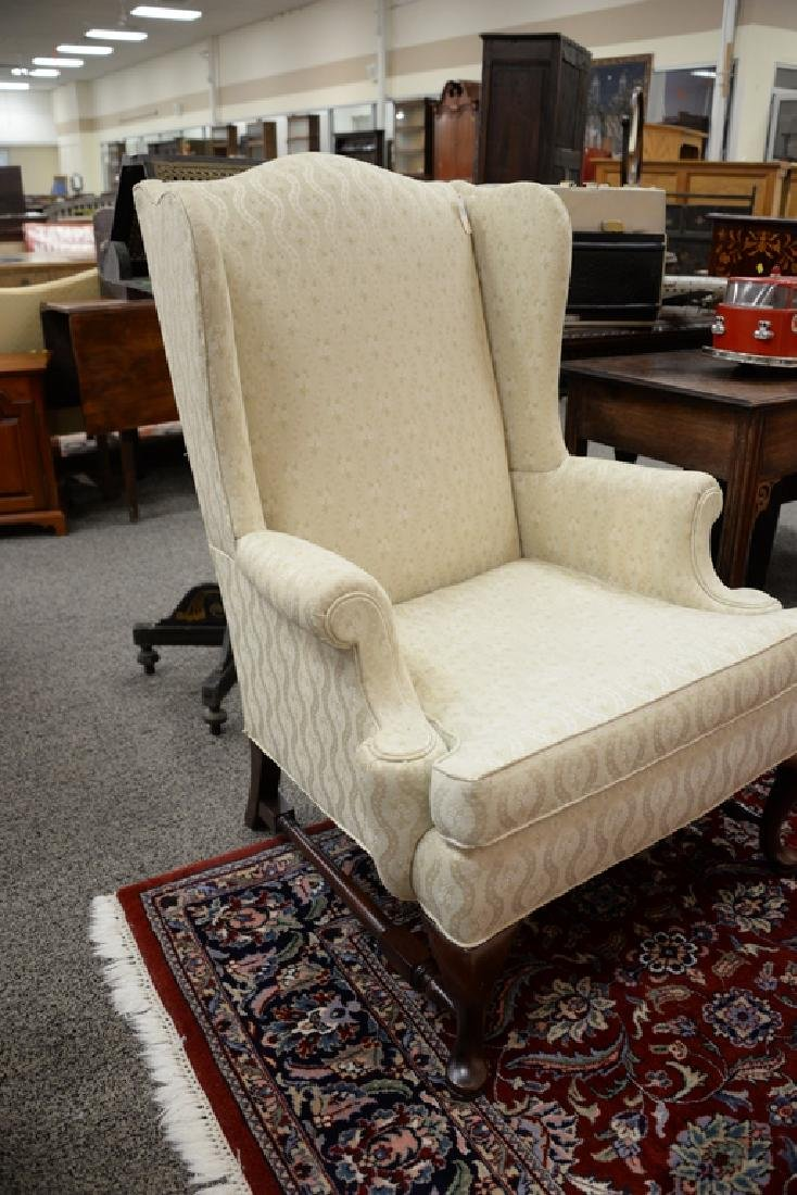Hickory pair of upholstered Queen Anne style wing - 2