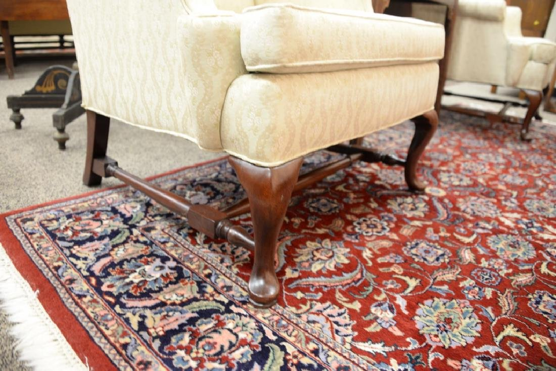 Hickory pair of upholstered Queen Anne style wing - 3