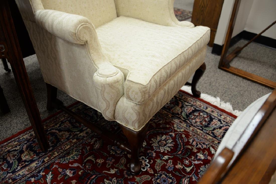 Hickory pair of upholstered Queen Anne style wing - 4