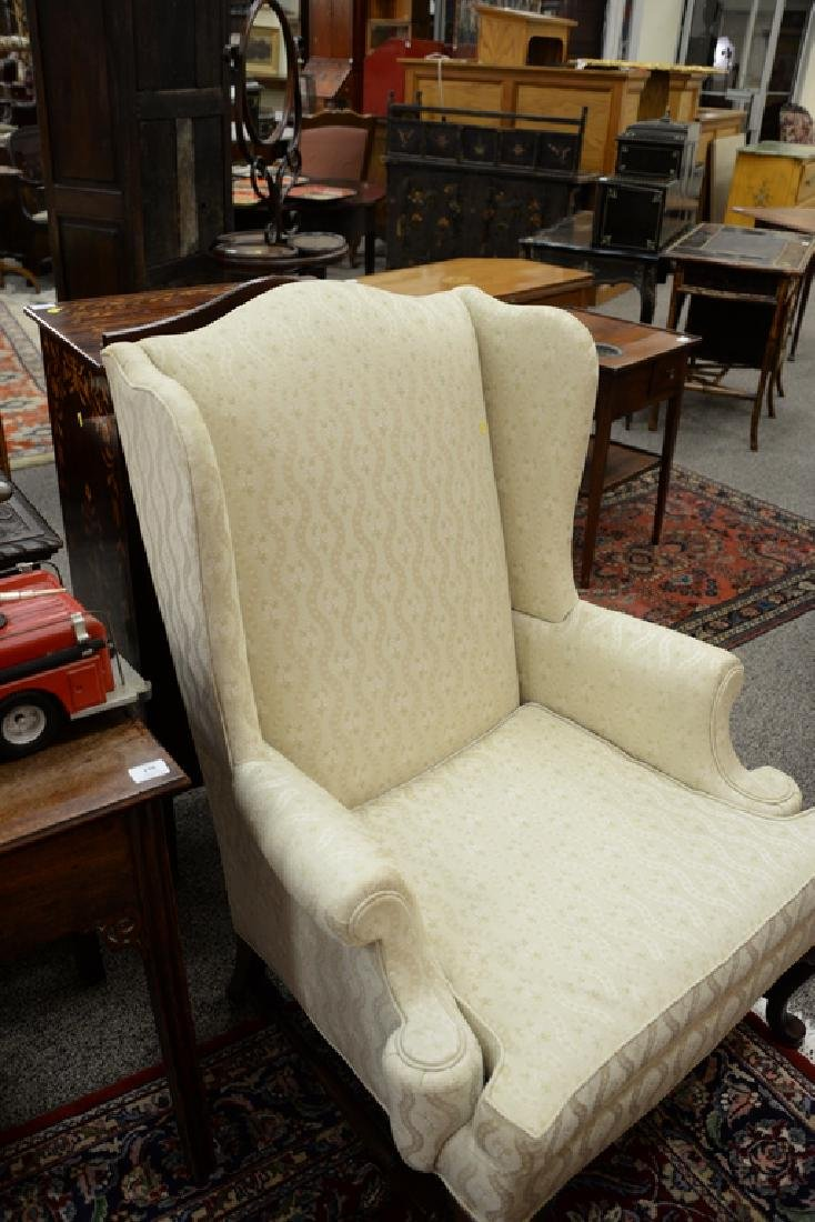 Hickory pair of upholstered Queen Anne style wing - 5
