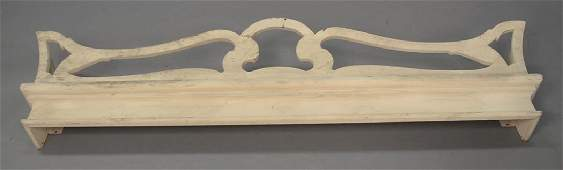 Set of six custom carved window valances. lg. 48 1/2in.