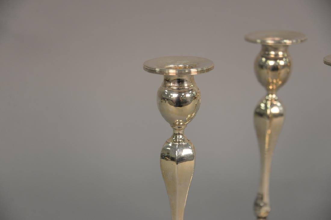 Set of four sterling weighted candlesticks (as is), ht - 3