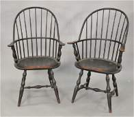 Set of six custom Windsor style armchairs, two with